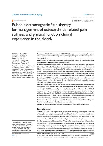 PEMF and Osteoarthritis