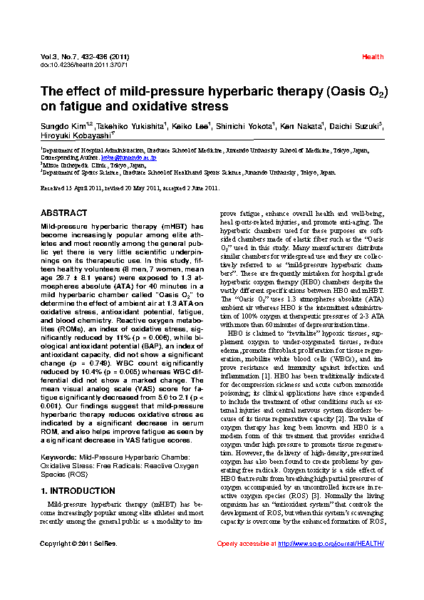 mHBOT for Oxidative Stress and Fatigue